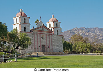 mission santa barbara - a panoramic view of mission santa...