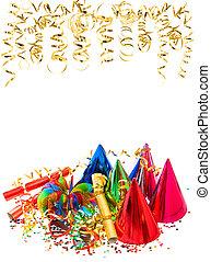 colorido, guirnaldas, dorado, Serpentina, y, Confeti,