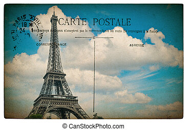 antique french postcard  from paris with eiffel tower and blue s