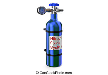 Nitrous Oxide System gas cylinder isolated on white...