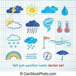 Weather icons vector set Felt pen drawing Isolated