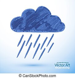 Felt pen drawing of rainy cloud. Vector illustration....
