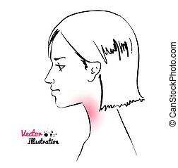 Young woman. Sore throat. Vector illustration.