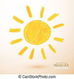 Sun Felt pen drawing - Sun Felt pen drawing, Vector...