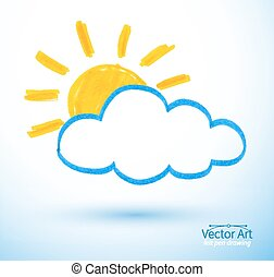 Sun and cloud Felt pen drawing, Vector illustration Isolated...