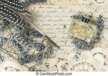 vintage ink pen, perfume, lavender flowers and old love...