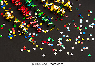 colorful streamer and confetti. party decoration