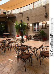 Summer outdoor cafe - Summer outdoor empty cafe in small...