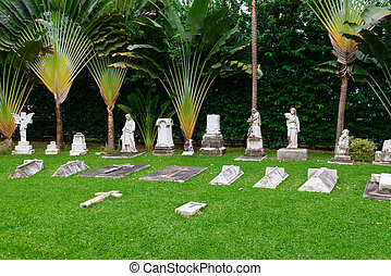 Old classical in cemetery - Stone gravestones statues and...
