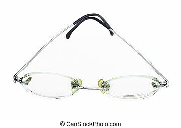 close up of eye glasses isolated