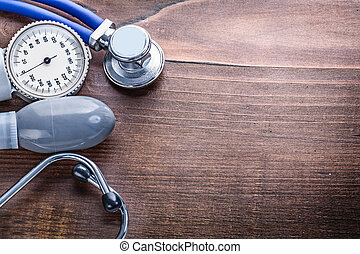 organized copyspace blood pressure monitor stethoscope on...
