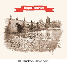 Charles bridge - Vintage postcard with Old Prague Charles...