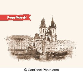 Old Prague view - Vintage postcard with Old Prague view...