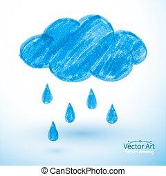 Rainy cloud. Felt pen drawing, Vector illustration....