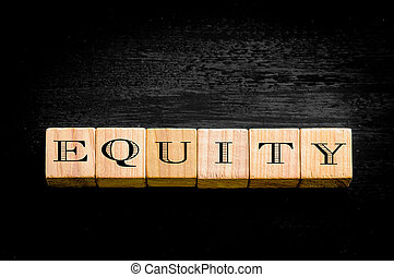 Word Equity isolated on black background - Word Equity....