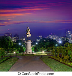 Boston Common George Washington monument sunset at...