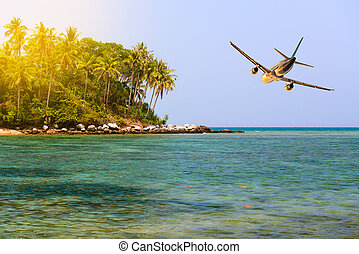Travel to tropical vacation on idillic island - Airplane...