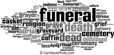 Funeral word cloud concept Vector illustration