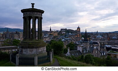 timelapse of sunset over Edinburgh, Scotland
