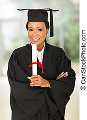 young female african college graduate - portrait of gorgeous...
