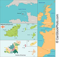 Guernsey map - Map of administrative divisions the Bailiwick...