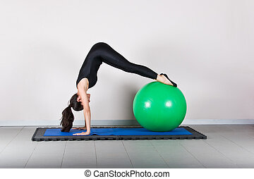 Gymnastics pilates - Downstretch with ball position. Pilates...