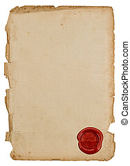 antique paper sheet with red wax seal - textured antique...