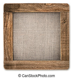 vintage rustic wooden frame with canvas isolated on white
