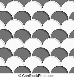 3D white and gray overlapping half circles in rows -...