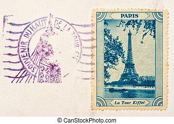 vintage stamp with Eiffel Tower Paris - PARIS, FRANCE -...