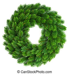 christmas wreath undecorated isolated on white background