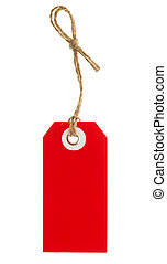 red tag with string isolated on white