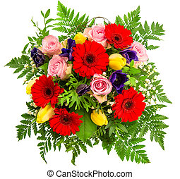 bouquet of colorful spring flowers over white