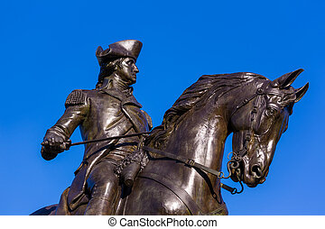 Boston Common George Washington monument at Massachusetts...