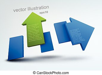 Abstract vector illustration with 3d arrow