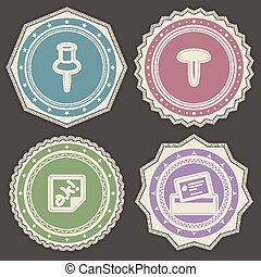 Office Supply Objects - pin, drawing pin, sticker, business...