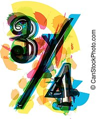 Artistic Abstract colorful quarters sign vector illustration