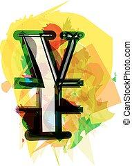 Artistic Yen sign