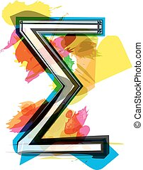 Artistic Sigma Sum sign vector illustration