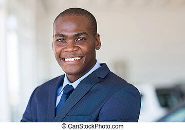 african american businessman close up - close up portrait of...