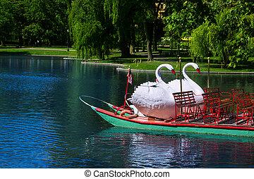 Boston Common public garden Swan boats