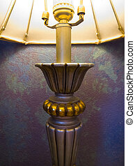 Old Lamp, Old Wall - Illuminated brass color vintage lamp...