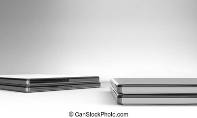 Closeup Of Laptops On White Background3D render Animation...