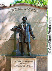 Boston Common Wendell Phillips monument in Massachusetts USA