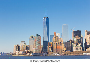 New York City Manhattan downtown skyline - New York City...