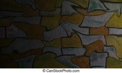 graffiti brick, masonry curve uneven pattern ornament night...