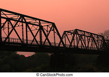 Sunset Railway bridge over river - Railway bridge over river