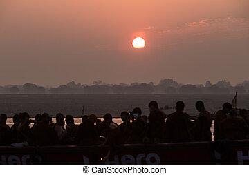 Sunrise on the Ganga river, Varanasi, India