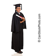 african american female graduate full length on white...