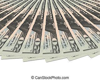 Money fan. Twenty dollars.